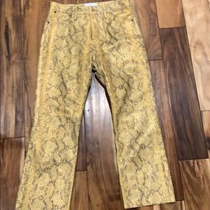 Foiled python leather pants. Yellow w/ gold foil